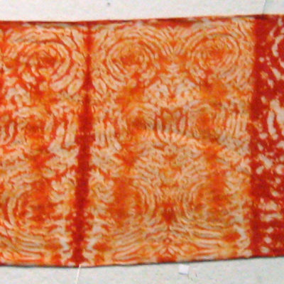 Full Spiral Patterned Orange Silk Shibori Scarf by Maureen Jakubson