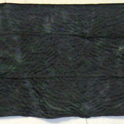 Full Image of Lightly Textured Black and Green Silk Shibori Scarf by Maureen Jakubson