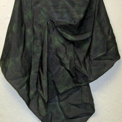 Black and Green Shibori Silk Scarf by Maureen Jakubson