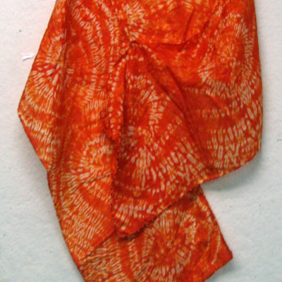 Orange Silk Shibori Scarf With Circular Pattern by Maureen Jakubson