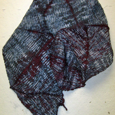 Textured Mulberry Silk Shibori Scarf by Maureen Jakubson