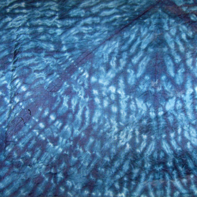 Blue Curves Over Triangles Silk Shibori Scarf Open