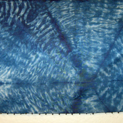 Blue Mokume Equilateral Triangles Beaded Silk Shibori Scarf Detail