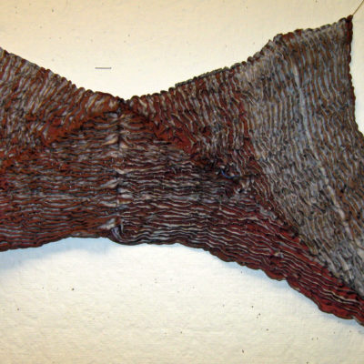 Brown and Gray Triangles Textured Silk Shibori Scarf Detail