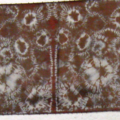 Brown Circular Motif on Repeating Squares Beaded Silk Shibori Scarf Full Length