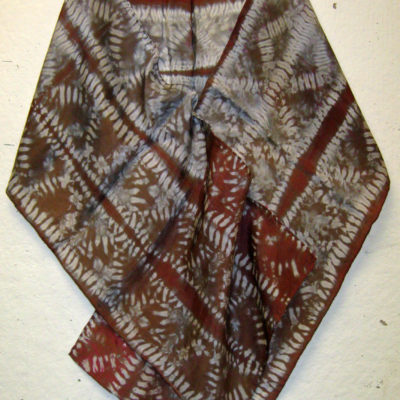 Brown-Gray-White Maka Nui Pattern Silk Shibori Scarf Naturally Draped