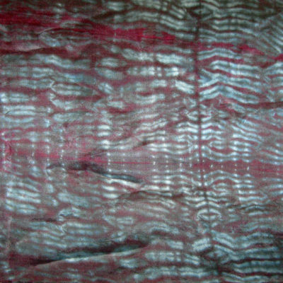 Dark Mulberry and Gray Mokume Silk Shibori Scarf Detail