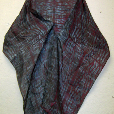 Dark Mulberry and Gray Mokume Silk Shibori Scarf Naturally Draped