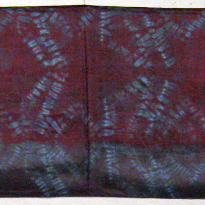 Dark Mulberry and Gray Star Motif Silk Shibori Scarf Full Length