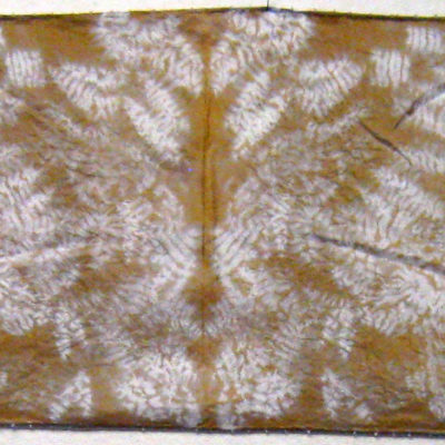 Gold Large Leaf Beaded Silk Shibori Scarf Full Length