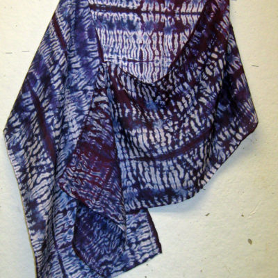 Imperial Purple Mokume Silk Shibori Scarf Naturally Draped