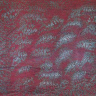 Magenta and Gray Small Leaf Silk Shibori Scarf Detail