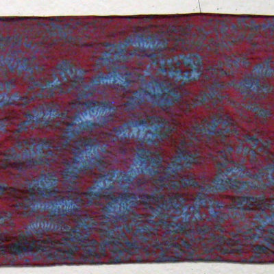 Magenta and Gray Small Leaf Silk Shibori Scarf Full Length