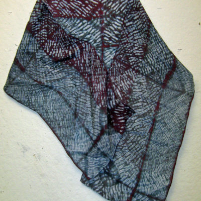 Mulberry and Gray Diamond Intersection Pattern Silk Shibori Scarf Naturally Draped