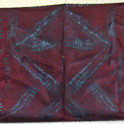 Mulberry Triangles Silk Shibori Scarf with Beaded Edge Full Length