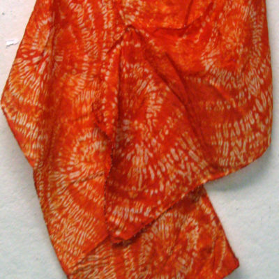 Gold Interlocking Spirals Silk Shibori Scarf Naturally Draped