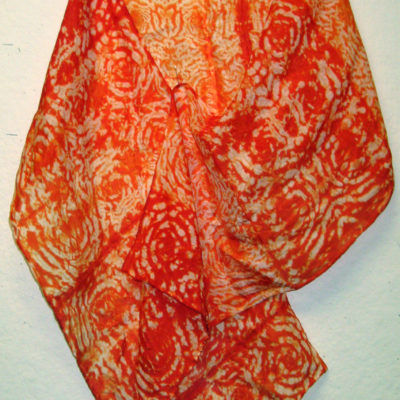 Orange Interlocking Spirals Silk Shibori Scarf Naturally Draped