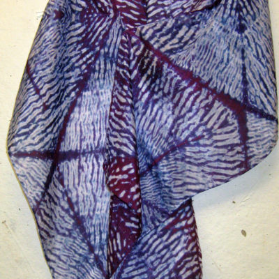 Purple-Blue Mokume Triangle Pattern Silk Shibori Scarf Naturally Draped