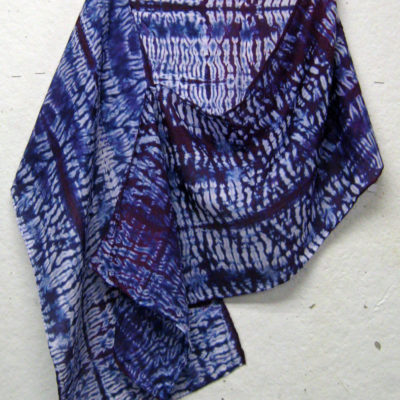 Purple-Blue Mokume Pattern Silk Shibori Scarf Naturally Draped