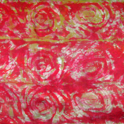 Red-Gold Interlocking Spirals Silk Shibori Scarf Detail