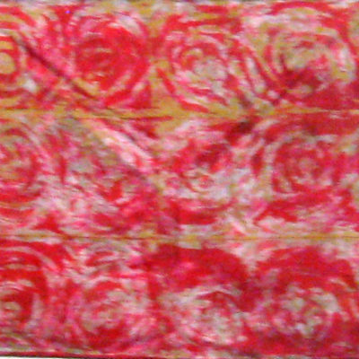 Red-Gold Interlocking Spirals Silk Shibori Scarf Full Length