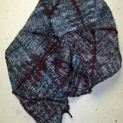 Mokume Mulberry Textured Silk Shibori Scarf Naturally Draped
