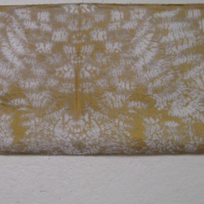Gold and White Overlapping Leaf Pattern Shibori Scarf with Beaded Edge Detail