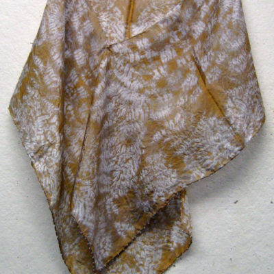 Gold and White Overlapping Leaf Pattern Shibori Scarf with Beaded Edge Naturally Draped