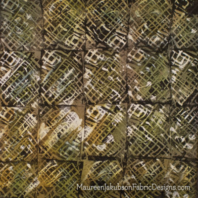 Abstract Lines Stamped and Painted Fabric by Maureen Jakubson