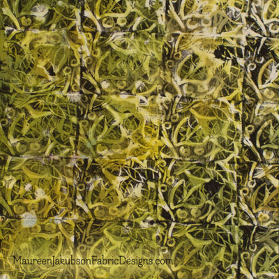 Green Curves Stamped and Painted Fabric Piece by Maureen Jakubson